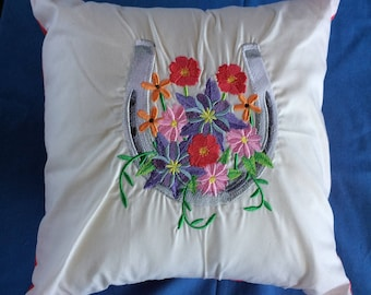 Horseshoe in Wildflowers Machine Embroidery Pillow
