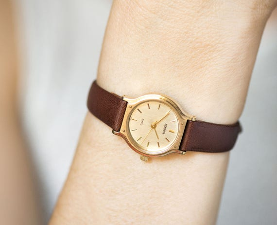 Women's Quartz Watch Sekonda, Classic Women Watch Gold Shade, Minimalist Tiny Watch Her, Girl's Watch Simple Gift, Genuine Leather Strap New by Etsy