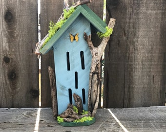 Butterfly House, Primitive Rustic Butterflies Habitat Nesting Box with Driftwood, Handmade & Hand Painted Bug Box Garden Art Item #587617242
