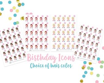 Birthday Girls Icons- Planner Stickers; Celebration
