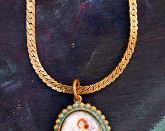 Spring Blossom Lady Glass Cameo on Napier Gold Tone Chain