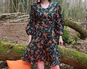 Vintage 70's Dark Green Pink Orange Floral Print Pleated Summer Midi Dress With Belt Size 12