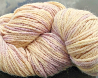 Hand dyed yellow and lilac merino fingering weight yarn, 440 yards