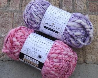 Destash - NEW Luxecraft Buttercream yarn in pink or purple, wool blend super bulky 140gr 92 yards