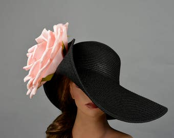 Black Pink/Yellow Wedding Head Piece Kentucky Derby Hat Fascinator Wedding Accessory  Cocktail Hat