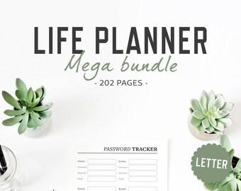 Life Planner / Letter size / Life Organizer Mega Bundle Printable Inserts Household Lifestyle Health Family Work Binder / INSTANT DOWNLOAD