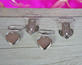 """Heart Love face 1"""" 25mm Suspender Mitten Clips for Webbing Belt, Soother clip,"""
