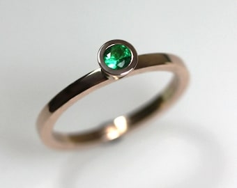 Emerald & Rose Gold Engagement Ring