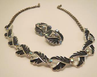 elaborate black enamel choker necklace aurora borealis rhinestones clip on earrings demi parure set