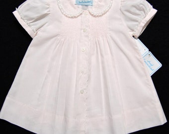 Hand embroidered NB/3M pink batiste take me home dress with French lace and matching slip