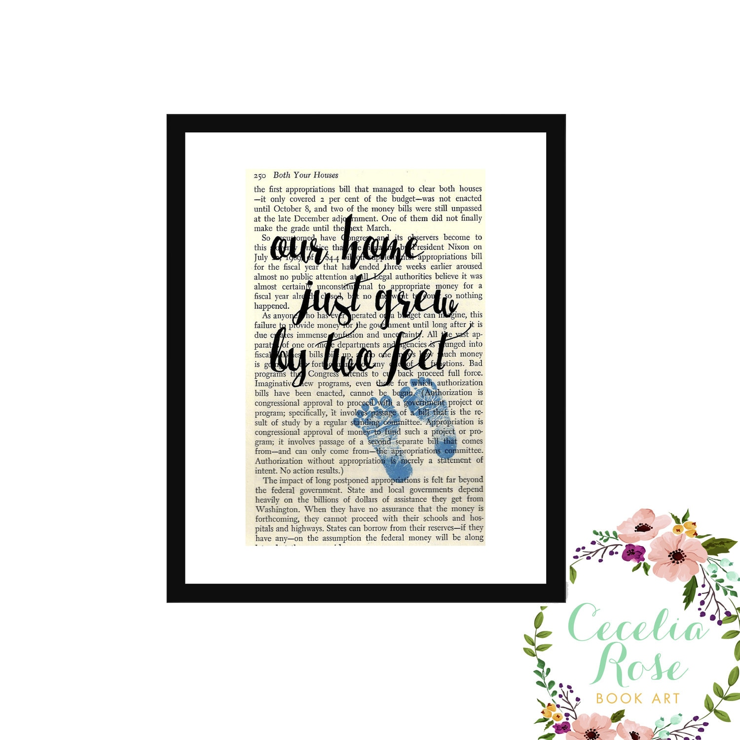 Our Home Just Grew By Two Feet Baby Boy Blue Book Page Art Box Frame ...