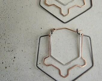 GEODE HOOP EARRINGS - Geometric Hoop Earrings with Silver, Rose Gold and Oxidized Silver - Ornate Minimalist Hoops