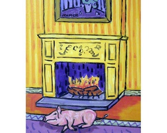 Pig By the Fireplace Art Print