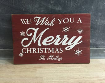 christmas signs, personalized christmas signs, merry christmas signs, family sign for christmas, wood signs