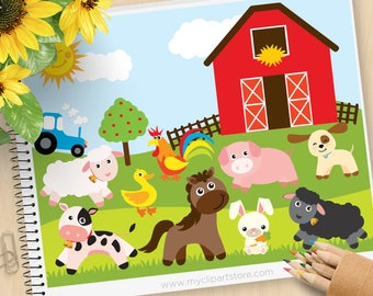 Farm Animals, Red barn, tractor, sheep, pig, rooster, puppy dog, duck, pig, cow, horse, Commercial Use, SVG Cut Files, Vector Clipart