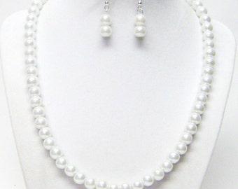Glowing 8mm White Glass Pearl Necklace/Bracelet & Earrings Set