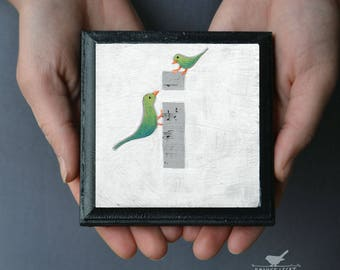 "Bird Nursery Alphabet Block, Nursery Art Block, Cute Birds Wall Decor, Alphabet Art, Whimsical Bird Alphabet, Letter ""i"" painting"