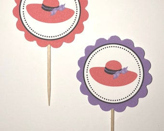 Red Hat Society - 12 cupcake toppers