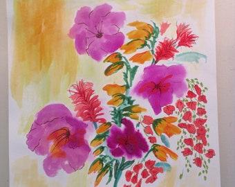 Hibicus, watercolor/ink painting