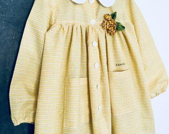 Kindergarten apron - school pinafore - yellow smock dress for little girl