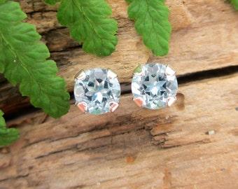 Aquamarine Studs - Genuine Aquamarine Stud Earrings in Real 14k Gold, Sterling Silver, or Platinum - 3mm, 4mm