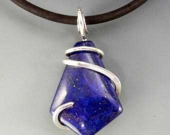 Lapis Pendant, Wire wrapped Pendant, Wire Wrapped Jewelry, Lapis Jewelry,  Lapis necklace, silver wrapped necklace