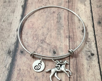 Horse racing initial bangle - horse racing jewelry, gift for horse lover, jockey jewelry, horse race initial bracelet, horse jockey pendant