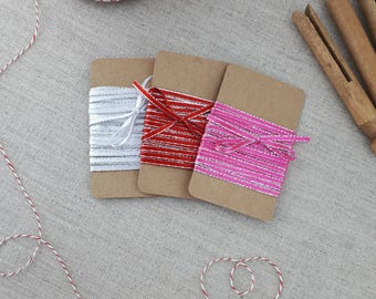 Super Thin Ribbon 3 Yds, 3 Colors, Decorative Ribbon , Gift Ribbon, Pink Red Silver, Gift Wrapping Supplies, Party Decor, Craft Supplies
