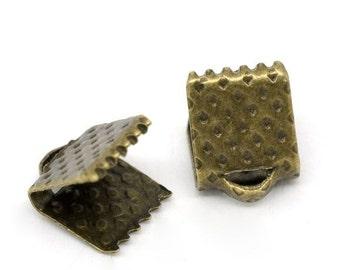 100 Ribbon Crimp Ends, 6 x 8mm, Antique Bronze Tone (1T-54)