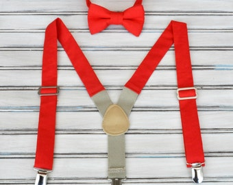 Ruby Red Linen Bow Tie and Suspenders for Men, Youth, Boys, Mothers Day Gift
