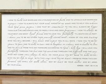 Wedding vows framed | Etsy