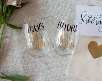 Personalized Future Mrs. and Lucky Mr. Wine Glasses | Engagement Gift for couple  | Gift Wrap | Gift Box