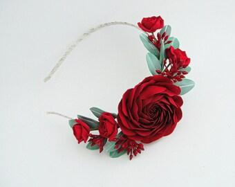 Burgundy Flower Crown- Marsala Wedding Crown- Burgundy Bridesmaid- Winter Wedding Headpiece- Burgundy Floral Crown- Boho Flower Crown