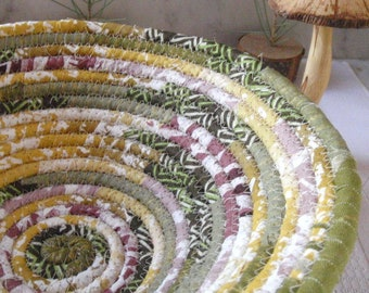 Mossy Green, Gold and Plum Coiled Fabric Basket - Catchall for Your Keys, Change, Handmade by Me