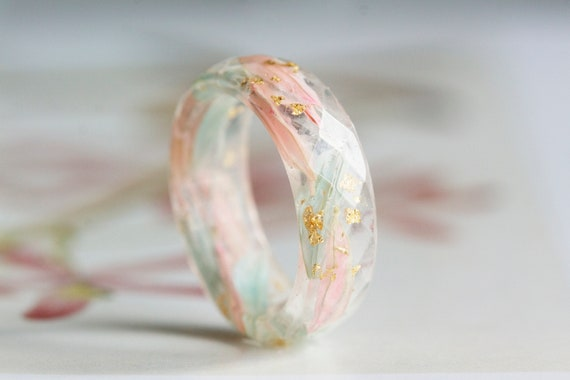 Resin Ring with Mint Pink Petals and Gold Flakes
