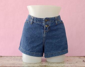 Vintage Denim Jean Shorts, 80s Paris Blues Low Rise Shorts, 80s Denim Button Fly Short Shorts, 80s Plus Size Jean Shorts, Women's Size 17