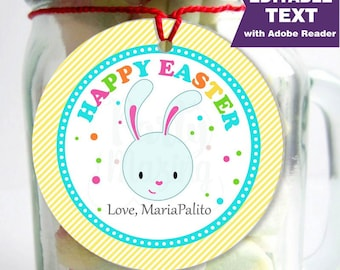 Editable Printable Easter Tag , Party Favor Sticker, Cute Some-Bunny Special Tag, Round or Square Topper, Instant Download -D859