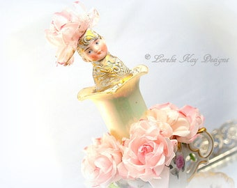 Rose Assemblage Tea Cup Art Doll Sculpture Romantic Art Doll Shabby Pink Roses Lorelie Kay Original
