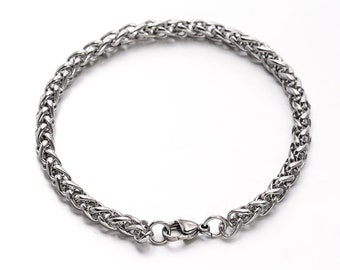 2pc Stainless Steel Wheat Chain Bracelets-1385m