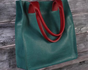 Leather blue shopper bag, tote blue bag, leather handbag aqua blue