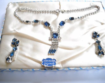 Wiesner Astra Sapphire Blue Rhinestone Set Joseph Wiesner Blue Clear Necklace Earrings w/ Presentation Box Mid Century Rhinestone Set