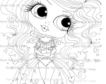 INSTANT DOWMLOAD Digital Digi Stamps Big Eye Big Head Dolls Digi Scan00052  By Sherri Baldy
