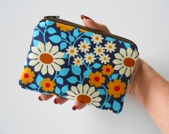 Small Zipper Pouch Coin Purse ECO Friendly Padded Little Zipper Pouch NEW Blue Garden