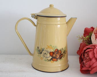 Vintage French Floral Enamel Coffee Pot - Shabby Chic