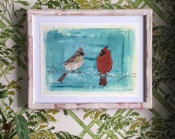 Pair of cardinals - painting on paper framed