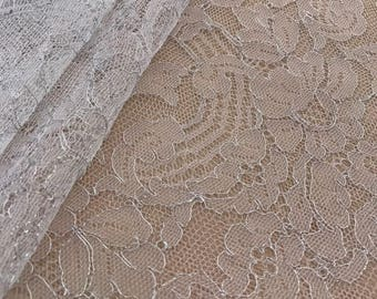 White and silver thread lace, Solstiss lace fabric, Both side scalloped, Chantilly lace, Wedding lace, B00193