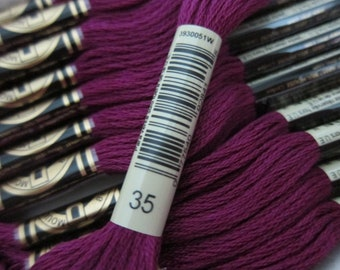 Very Dark Fuchsia #35, DMC Cotton Embroidery Floss - 8m Skeins - Available in Single Skeins, Larger Pkgs & Full (12 skein) Boxes