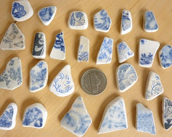 SEA POTTERY SHARDS 25 Small Blue and White beach Earrings Charms Antique Scottish