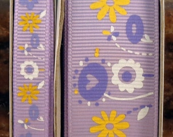 """2 Yards 3/8"""" or 1"""" Spring Blossoms Flowers Print on Orchid - Lilac Print Grosgrain Ribbon"""