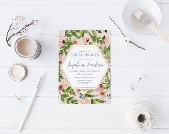Greenery blush pink Bridal Shower Invitation Wedding Party Invitation Hens Party Bachelorette Party Invite Mordern Invitation Calligraphy